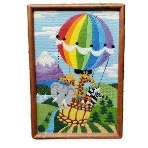 Hand Embroidered Nursery Animals Hot Air Baloon